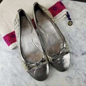 Tory Burch Croc Print Silver Patent Leather Ballet